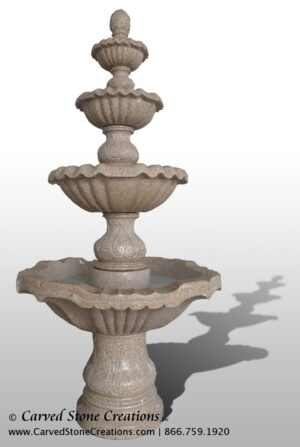 """4-Tier Fountain, D54"""" x H108"""", Giallo Fantasia D Granite"""