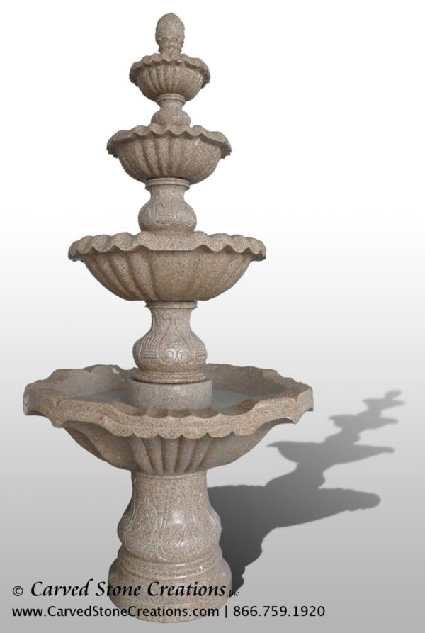 "4-Tier Fountain, D54"" x H108"", Giallo Fantasia D Granite"
