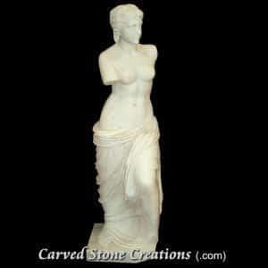 Venus De Milo Statue, Honed Bianco Puro Marble