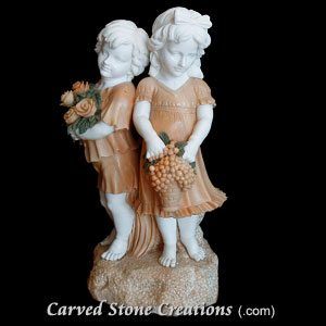 Boy & Girl with Grapes & Flowers, Mixed Marble