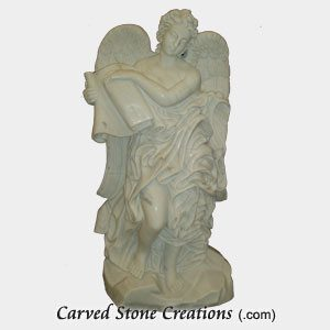 Angel with Scrolls, Bianco Puro Marble