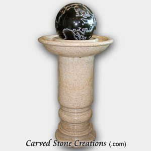 Pedestal Sphere Fountain with Globe, Giallo Fantasia/Absolute Black