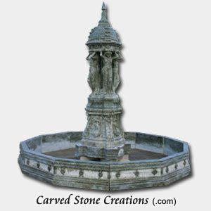 Four Lady Marble Fountain With Surround, Verde Oliva Marble
