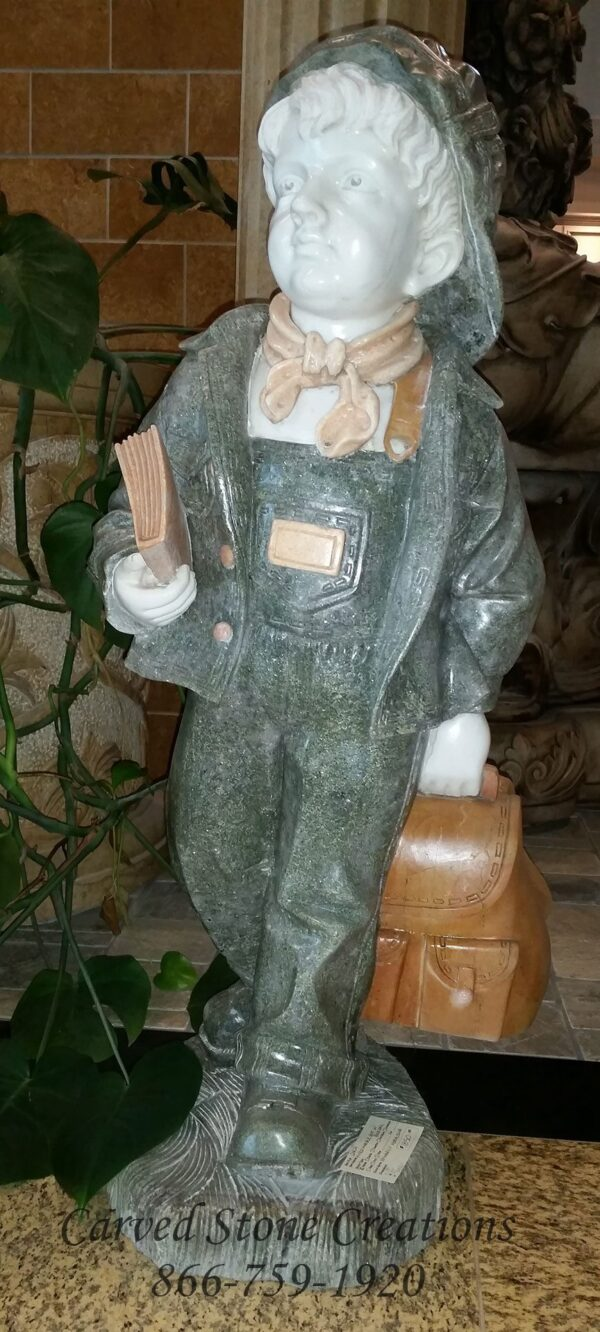 Boy W/ Book Bag Mixed Marble – Primarily Verde Oliva.