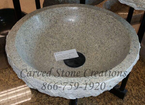 D16.5xH6 Golden Sesame Granite Rock-Face Vessel Sink Polished Interior
