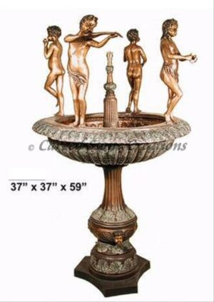 Bronze Fountain, 4 Children Musicians Dancing on Bronze Urn, H59