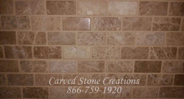 1×2 Emperador Light Marble Tumbled Mosaic
