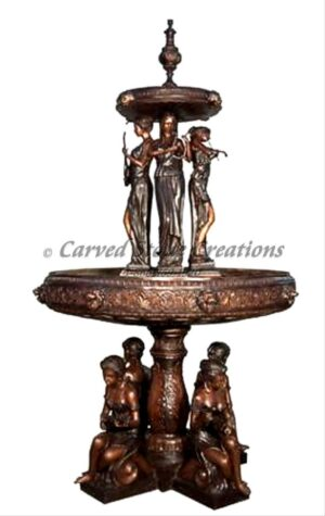 Bronze Fountain, 8 Women Musicians Two-Tier with 4 Woman Sitting. H112