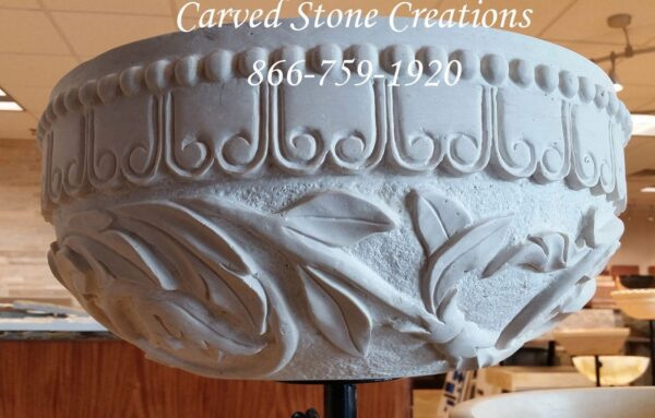 Custom relief carved round vessel sink stone