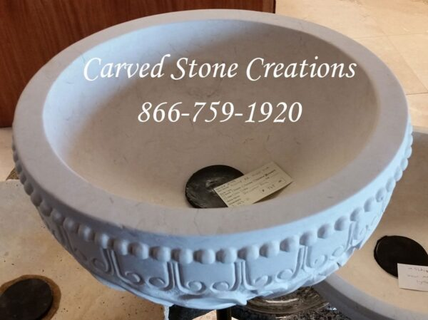 Custom Relief-Carved Round Vessel Sink, D16 1/2