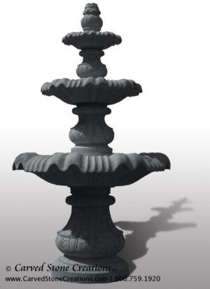 "Large Classical 3-Tier Fountain, D72"" x H126"", Charcoal Grey"