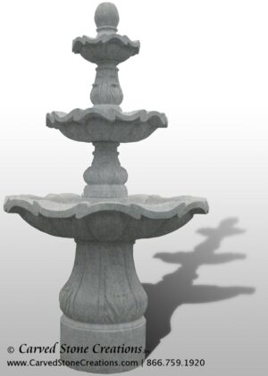"3-Tiered Scalloped Fountain, D54"" x H96"", Bianco Catalina Granite"