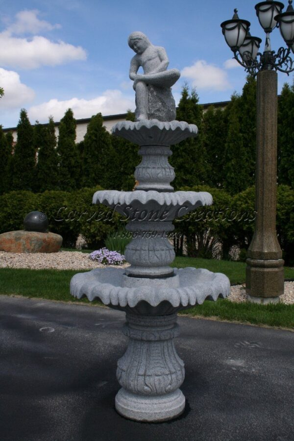 "Boy with Thorn 3-Tier Fountain, D30"" x H72""Charcoal Grey Granite"