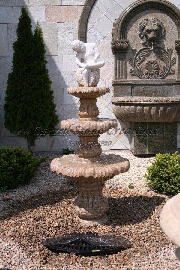 "Boy with Thorn 3-Tier Fountain, D30"" x H72"", Giallo Fantasia Granite"