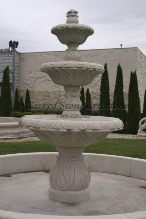 """3-Tier Deep Relief Fountain, D60"""" x H108"""", Golden Cypress Granite"""
