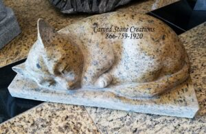 Carved sleeping cat statue, Cabo Sands granite