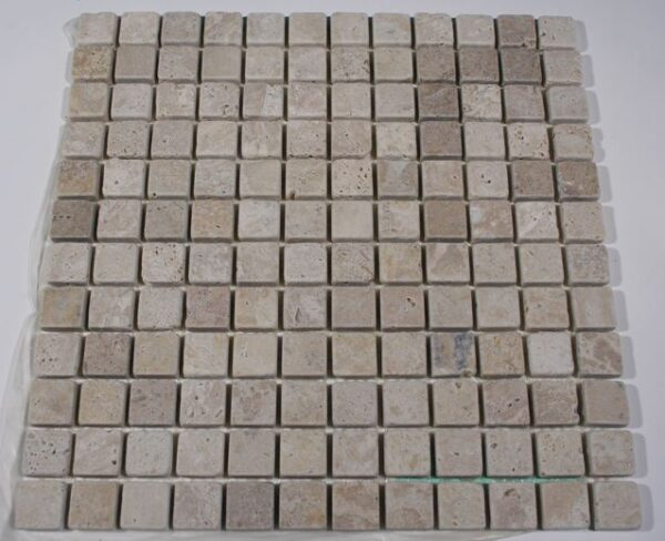 1×1 Golden Orient Tumbled Travertine Mosaic Tiles