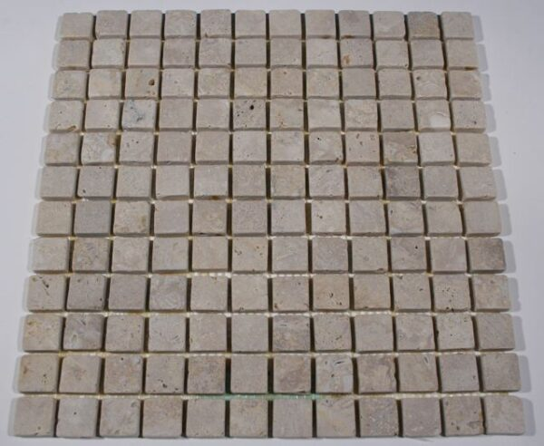 Light Oriental Travertine 1 Tumbled Square Mosaic Tiles