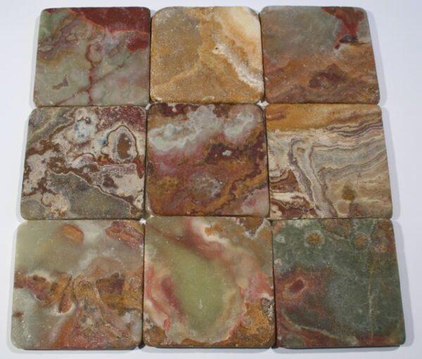 Green Onyx Tumbled Square Tile