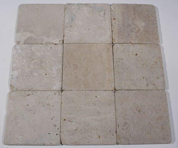 4×4 Light Oriental Travertine Tumbled Square Tiles