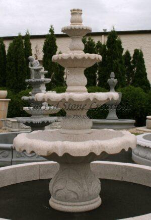 "4-Tier Acanthus Leaf Fountain, D48"" x H72"", Giallo Fantasia Y Granite"