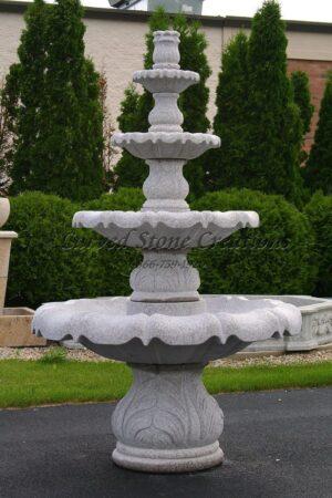 """4-Tier Acanthus Fountain, D48"""" x H72"""", Wild Rose Granite"""