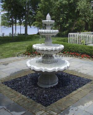 "4-Tier Acanthus Fountain, D48"" x H72"", Bianco Catalina Granite"