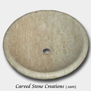 Tuscany Classic Honed, Filled Travertine Rimmed Vessel Sink