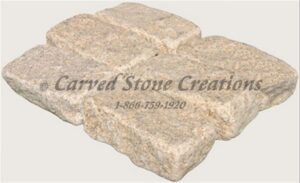 4×8 Granite Cobble Stone Paver, Tumbled Giallo Fantasia Y