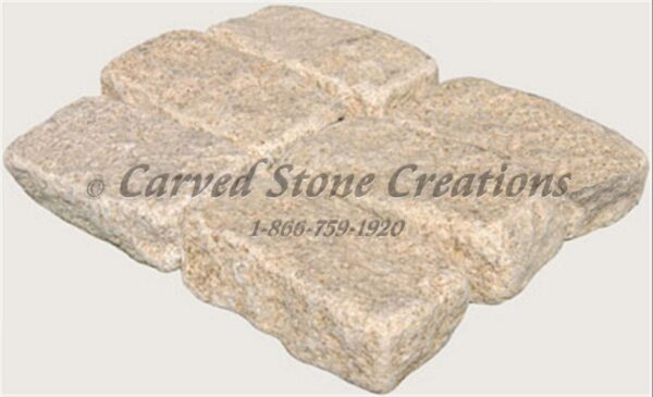 4×8 Granite Cobble Stone Paver, Tumbled Giallo Fantasia Y
