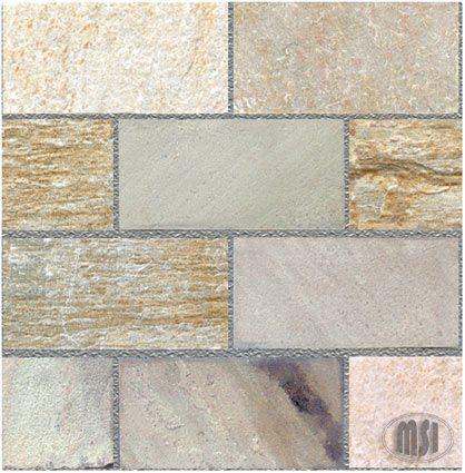 8×16 Serengeti Gold Quartzite Natural Cleft Tile