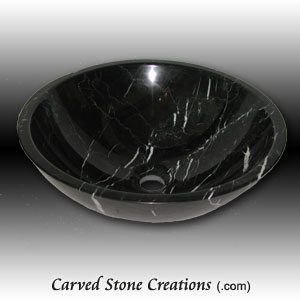 Nero Marquina Rimless Polished Marble Vessel Sink