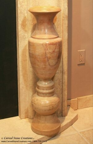 Polished Light Saffron Marble Tall Floor Vase