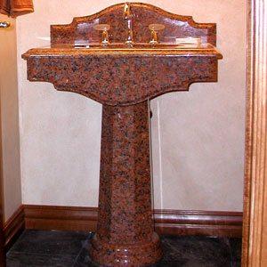 Florence Maple Leaf Red Pedestal Sink