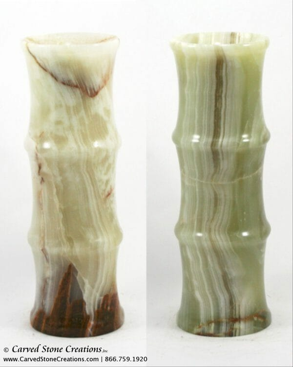 Polished Green Onyx Bamboo Vase