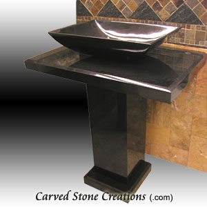 Contemporary Absolute Black Pedestal Sink
