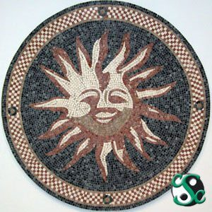 Mixed-Marble Stylized Sun Mosaic