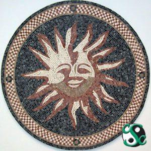 Mixed-Marble Stylized Sun Mosaic