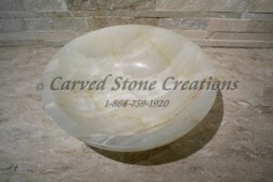 "Dia 17"" x H6"" Unrimmed Vessel Sink Polished White Onyx."