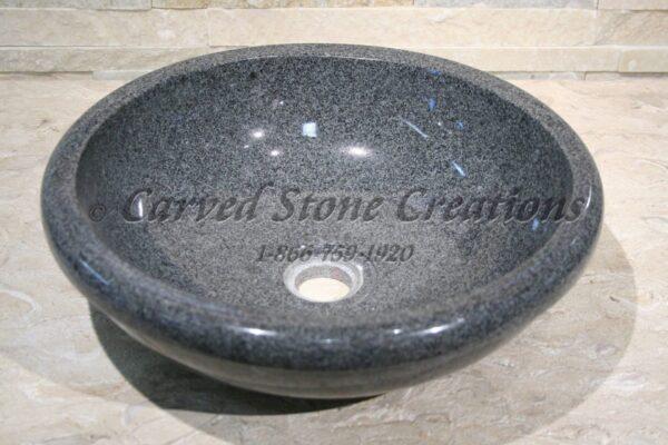 D15xH4.5 Charcoal Grey Polished Rimmed Vessel Sink
