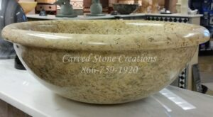 D16xH6 Fossil Polished Limestone Rimmed Vessel Sink