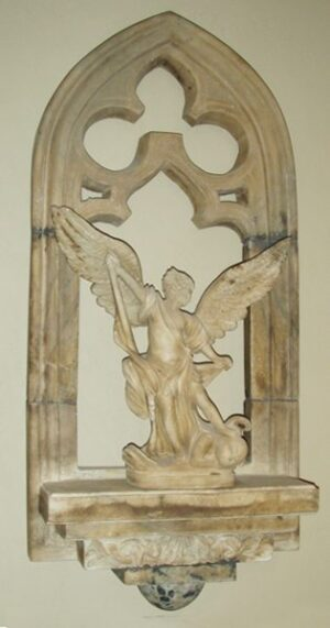 Antique Gothic Relief Carved Window Shelf With Statue