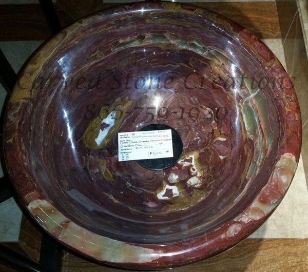 Red Onyx Polished Rimmed Vessel Sink