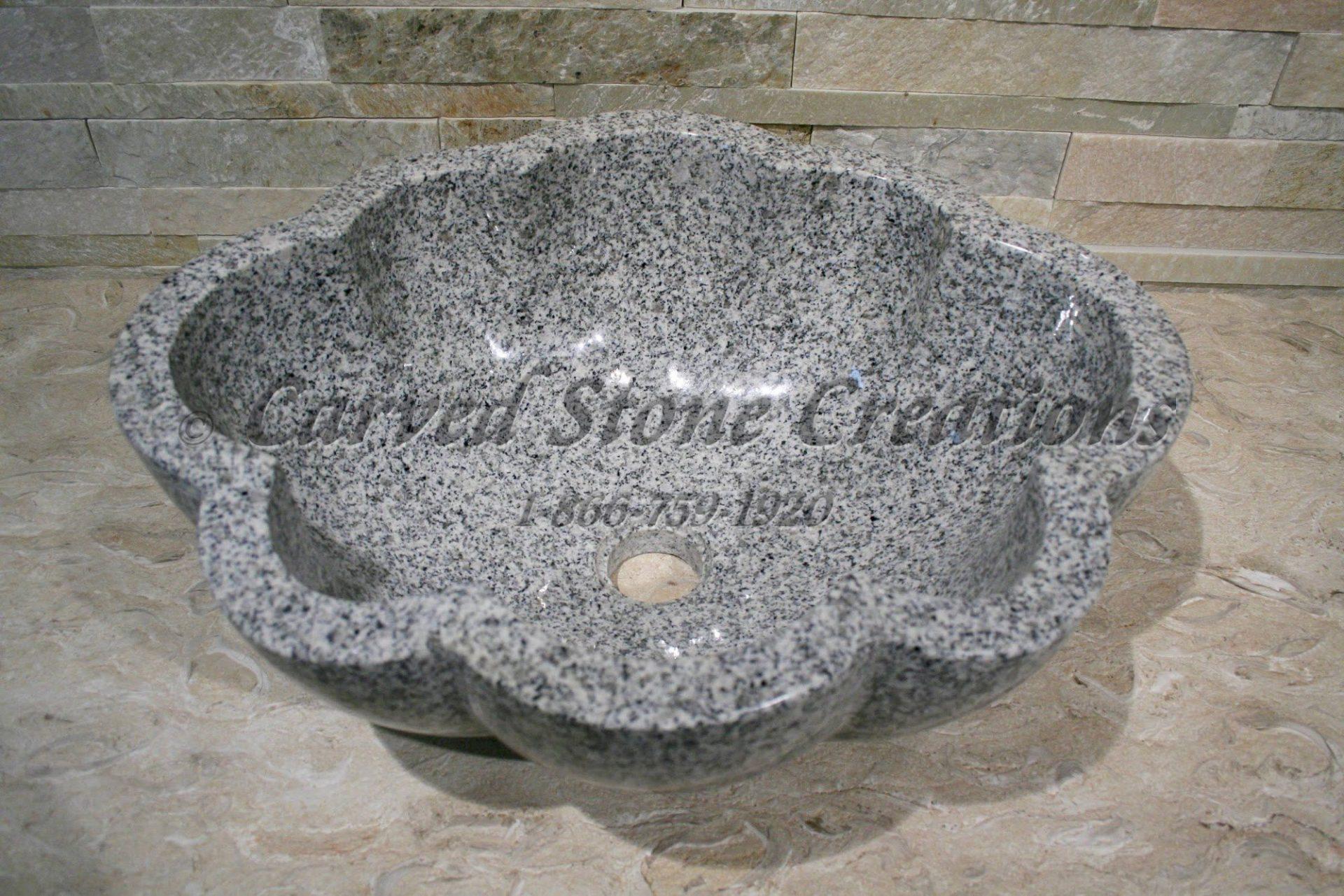 Bianco Catalina Granite : Bianco catalina oval scalloped vessel sink carved stone