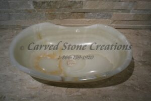 21x13xH6 White Onyx Polished Oval Contour Sink