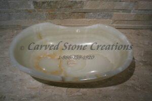 21x13xH6 White Onyx Polished Oval Contour Sink
