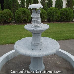 Children With Umbrella Fountain, Charcoal Grey Granite