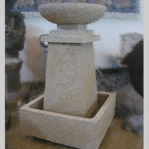 "Granite Prairie Style Fountain, D24"" x H48"", Giallo Fantasia Y"