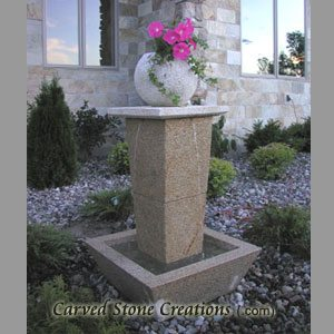 "Tolken Fountain, H50"" x D36"", Giallo Fantasia Y Granite"