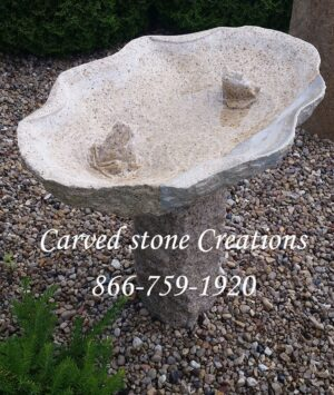 "Double Frog Bird Bath, H26"", Giallo Fantasia Y Granite"